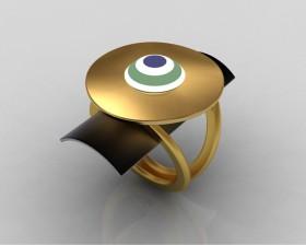 Rendering anello fibbia ciondolo due piani occhio