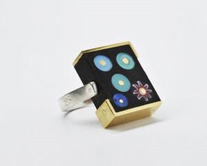 anello double face  bronzo argento vetri