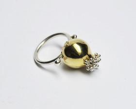 anello melograno argento similoro